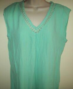 Katies sleeveless viscose green top Size 12