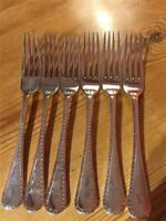 6 X Antique John Batt Silver Plate EPNS Table Forks 19.4cm A1 Bright Cut Design
