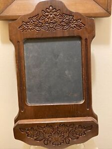 Vintage Carved Wood Wall Hung Chalkboard With Floral Daisy Design