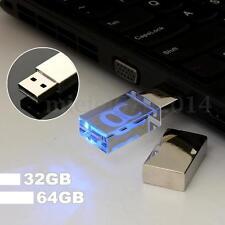 Bleu LED 64 G GO GB CLE USB 2.0 Cristal Mémoire Flash Drive STICK DISK WIN 7 PC