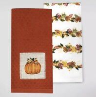 Celebrate Fall Together Kitchen Towels Set of 2 Pumpkin Harvest Thanksgiving