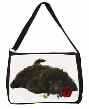 Miniature Poodle Dog with Red Rose Large Black Laptop Shoulder Bag S, AD-POD9RSB