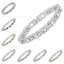 LADIES MAGNETIC HEALING BRACELET MIXED CRYSTALS BANGLE ARTHRITIS PAIN RELIEF