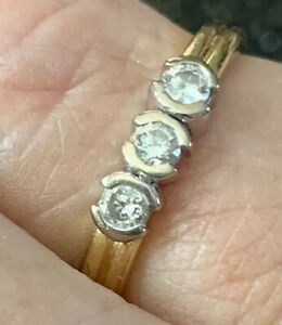 9ct Yellow Gold Diamonds In White Gold Trilogy Engagement or Dress Ring Size M