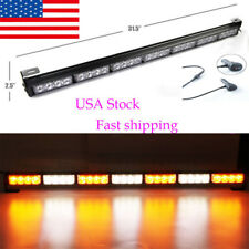 "31""28 LED Emergency Warning Light Bar Traffic Flash Strobe light  Amber&White US"
