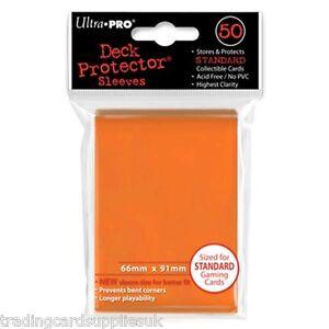 50 Ultra Pro Trading Card Sleeves - Standard Orange Deck Protectors.