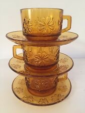 Set of 3 VINTAGE Retro FRENCH VERECO Amber Glass Coffee/Tea Cups & Saucers.