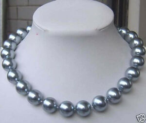 Huge 12mm Round Elegant Silver Gray Shell Pearl Necklace 18'' AAA