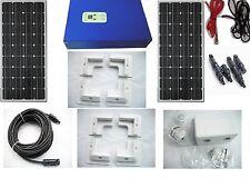 2 x 100W 200W solar panel kit boat motorhome brackets MPPT controller12v 24v