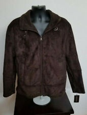 $550 Andrew Marc NEW YORK Men Brown Faux Suede Shearling Jacket Bomber Large