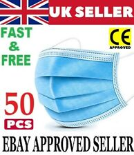 50 X Disposable Face Masks 3 Ply Dental Non Medical Surgical Mask Covering UK