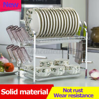 3 Tier 20'' Dish Drying Rack Drainer Stainless Steel Kitchen Organizer W/ Plate