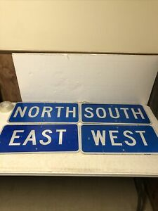 """Authentic Retired Texas Set Of 4 Blue North West East South Highway Signs 24X12"""""""
