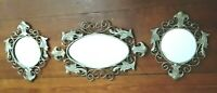 Set Of 3 Home Interiors Ornate Metal Framed Mirrors Homco