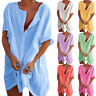Women V Neck Linen Beach Smock T Shirts Dress Ladies Tunic Top Holiday Plus Size
