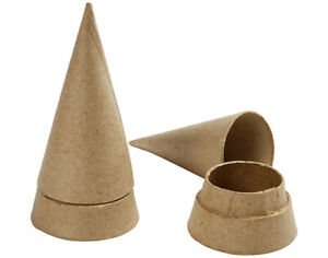 4 Paper Mache 13cm Cone Boxes to Decorate   Papier Mache Boxes