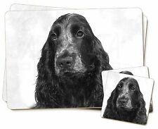 Blue Roan Cocker Spaniel Dog Twin 2x Placemats+2x Coasters Set in Gif, AD-SC26PC