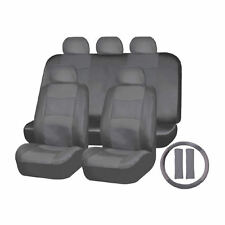 11pc Unviersal PU Leather SOLID Gray Seat Covers SET for TOYOTA CAMRY COROLLA