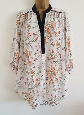NEW Plus Size 16-24 Butterfly Floral Print Orange Ivory White Chiffon Top Blouse