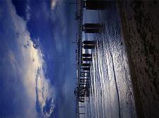 NATURE BEACH BUILD PIER TWILIGHT BLUE SEA POSTER ART PRINT HOME PICTURE BB1302A