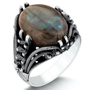 Solid 925 Sterling Silver Natural Labradorite Stone Men's Ring