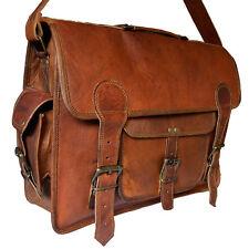 New Men's Vintage Genuine Leather DSLR Camera Insert Case Satchel Briefcase Bag