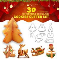 8PCS 3D Christmas Cookie Cutter Mould Stainless Steel  Biscuit Baking Mold Tool