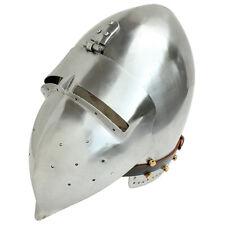 German Medieval Hinged Bascinet Klapvisor 16g Mild Steel Functional Helmet