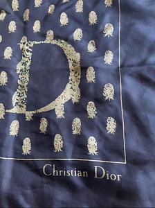 """Dior Blue Silk Scarf - Vintage - Beautiful! 30"""""""