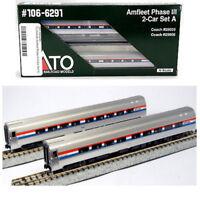 NEW Kato N 2-Car Set A Amtrak Amfleet Phase III 106-6291