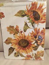 "Williams Sonoma Fall Sunflower Sun Flower Tablecloth 70 X 108"" NEW"