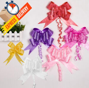 50 Pull Roses Artificial Ribbon Flower ribbon Wedding Bride Bouquet Party