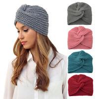 Women Warm Winter Knit Turban Cross Twist Wrap Cap Hair Beanie Hat Multicolor