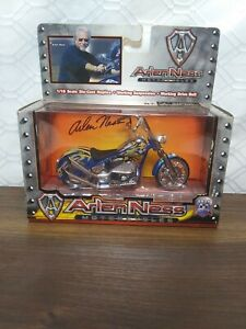 Collectable Arlen Ness Motorcycle 1/18 Scale Die Cast Replica Blue, flames,dice