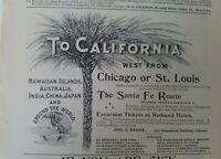 1894 Santa Fe Railway railroad route to California vintage original ad