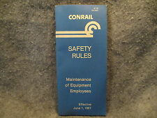 Conrail Safety Rules Maintenance Of Equipment Employees June 1 1981 Booklet