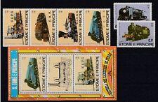 D. Eisenbahn - Lokomotiven   Sao Tome E Principe  808-13 + Bl.113-16   **  (mnh)