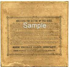 EXACT COPY SETH THOMAS DOUBLE DIAL CALENDAR LABEL CA. 1863