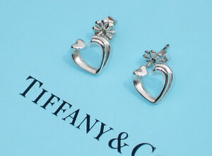 Tiffany & Co Sterling Argent Massif Paloma Picasso Tendresse Coeur Clou Boucles
