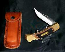 "Schrade 7OT Lockback Knife & Sheath ""Cave Bear"" Solid Brass Frame Delrin Scales"