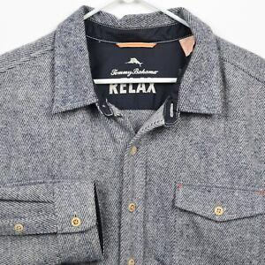 Tommy Bahama Relax Men's 2XB (2XL Big) Polyester Wool Alpaca Gray Flannel Shirt