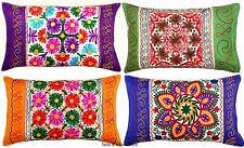 Ethnic Embroidered Pillow Sham Rectangular Cases Bohemian Indian Cushion Cover