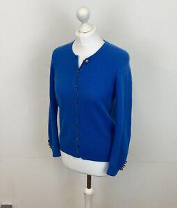 M&S 100% Cashmere Cardigan Blue Sz 10 UK Ladies