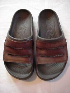 Men's Brown Leather Crocs Sandals/Slides - Sz 9 Excellent Condition!!!