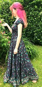 Boho hippie Festival pixie 100% SILK PURPLE summer Long dress maxi One size 8-16