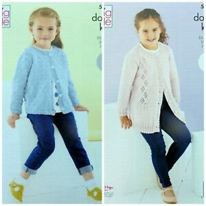 KNITTING PATTERN Childrens Bobble and Lace Cardigans Cherished DK King Cole 5587