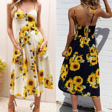 Cotton Midi Dresses for Women with Buttons