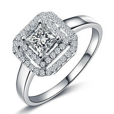 14Carat White Gold Solitaire with Accents Engagement Fine Rings