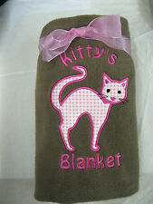 Personalised Embroidered Pet Cat Kitten Fleece Blanket with Pets Name Pink/Blue