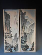 Lot of 2 China Chinese Figural Mountain Landscape Watercolors on Paper Board